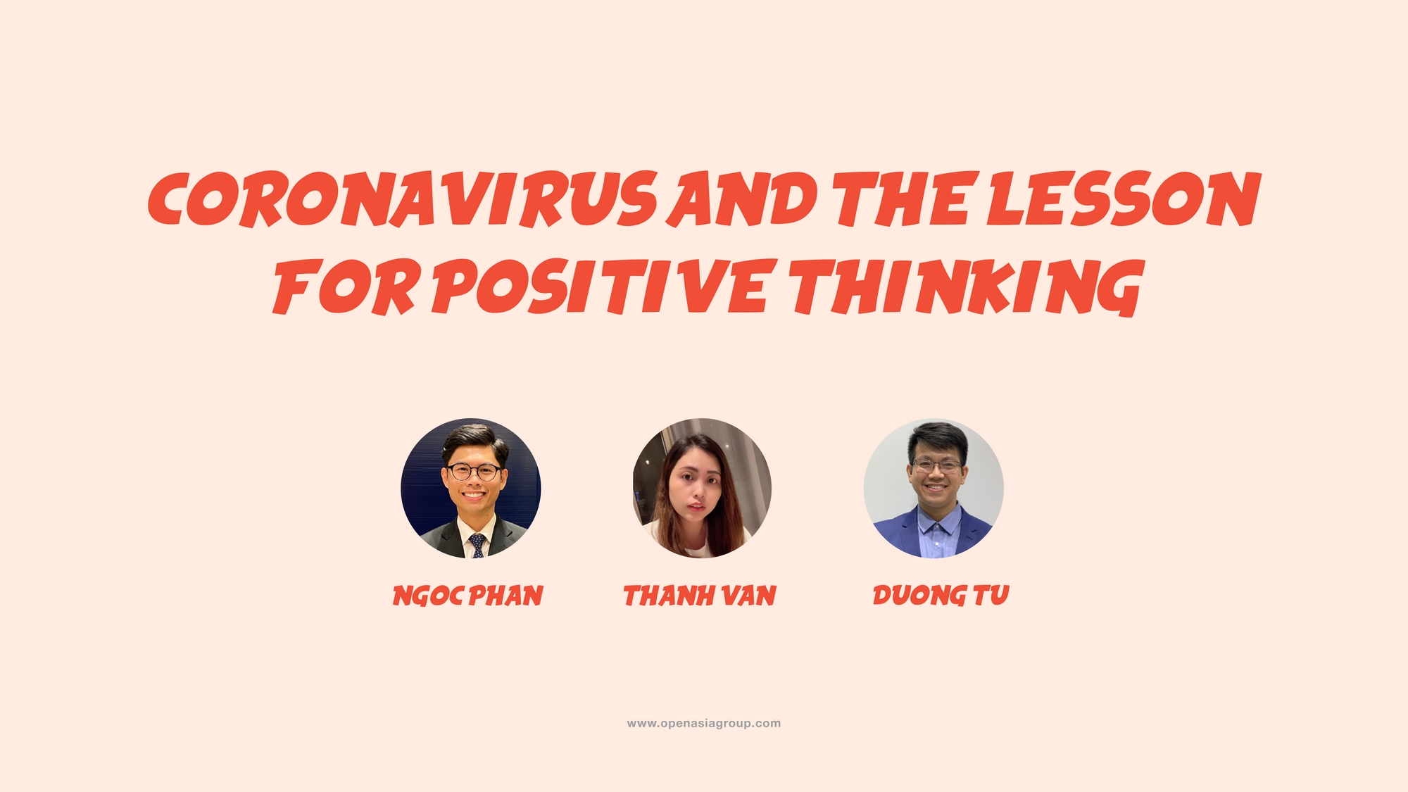 CORONAVIRUS AND THE LESSON FOR POSITIVE THINKING